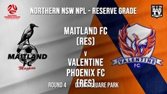 NPL NNSW RES Round 4 - Maitland FC (Res) v Valentine Phoenix FC (Res) Slate Image
